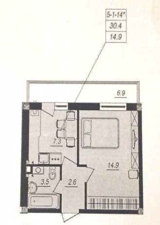 продажа однокомнатной квартиры номер A-83912 в Киевском районе, фото номер 3